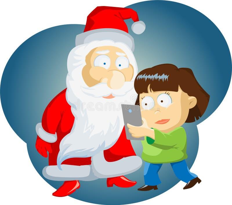 La muchacha de la muchacha hace un autorretrato con Santa Claus ilustración del vector