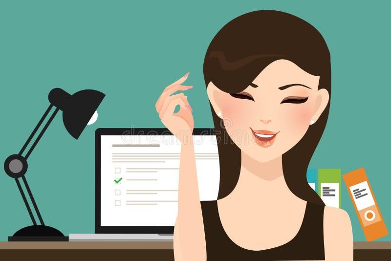 La muchacha de la mujer hace exámenes de la prueba en línea somete a interrogatorio con la evaluación del ordenador portátil del  ilustración del vector