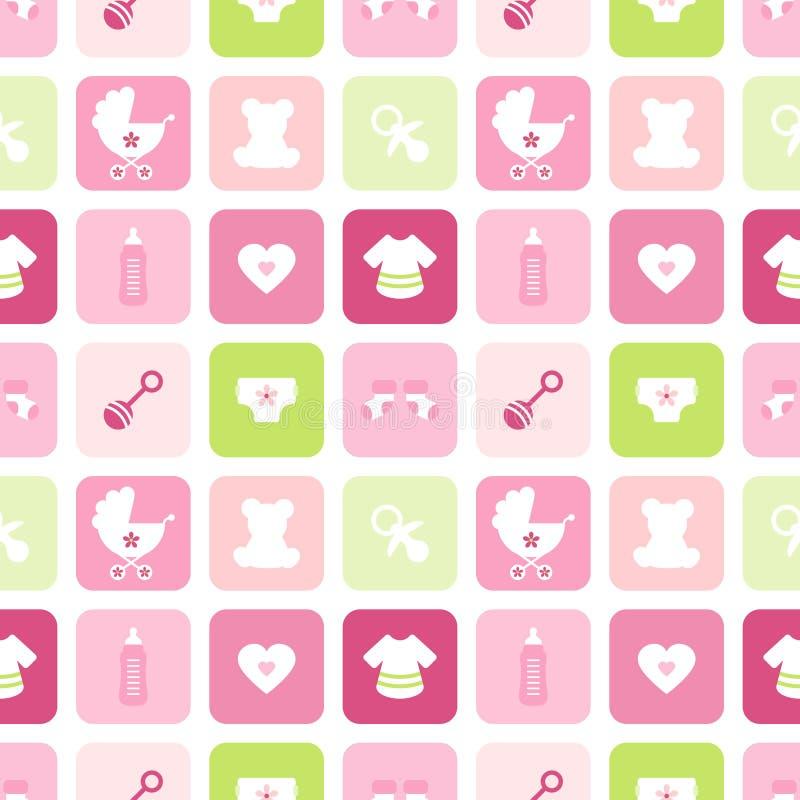 La muchacha de los iconos del bebé del modelo ajusta rosa y verde inconsútiles ilustración del vector