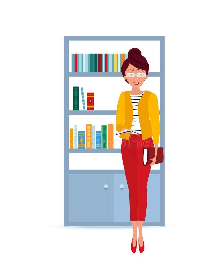 La muchacha de moda hermosa toma el libro en biblioteca y lee ilustración del vector