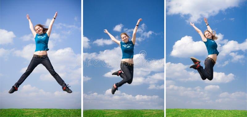 La muchacha de salto feliz fotografía de archivo libre de regalías