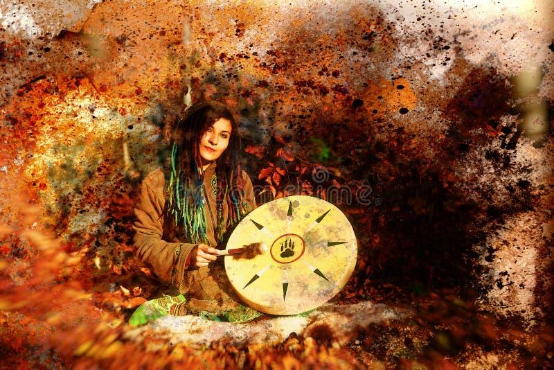La muchacha de Shamanic con el tambor del marco en extracto estructuró el fondo ilustración del vector