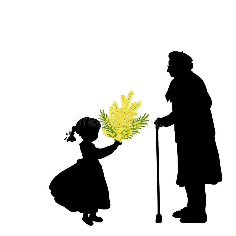 La muchacha de la silueta da las flores de la abuela ilustración del vector