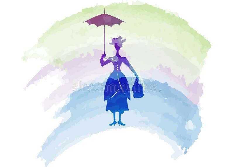 La muchacha de la silueta flota con el paraguas en su mano, estilo de Mary Poppins, vector aislada libre illustration