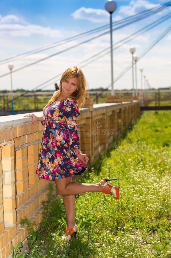 Download La Muchacha De Tacón Alto En Sundress De Un Color Imagen de archivo - Imagen de falda, horquillas: 41921091