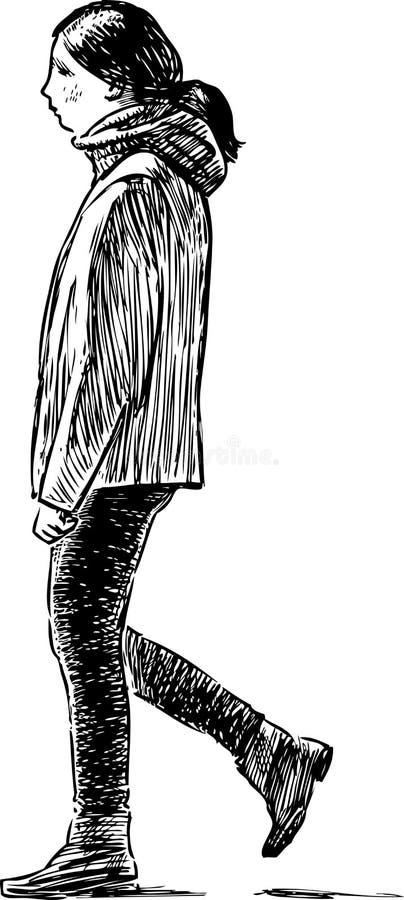 La muchacha del adolescente va para un paseo libre illustration