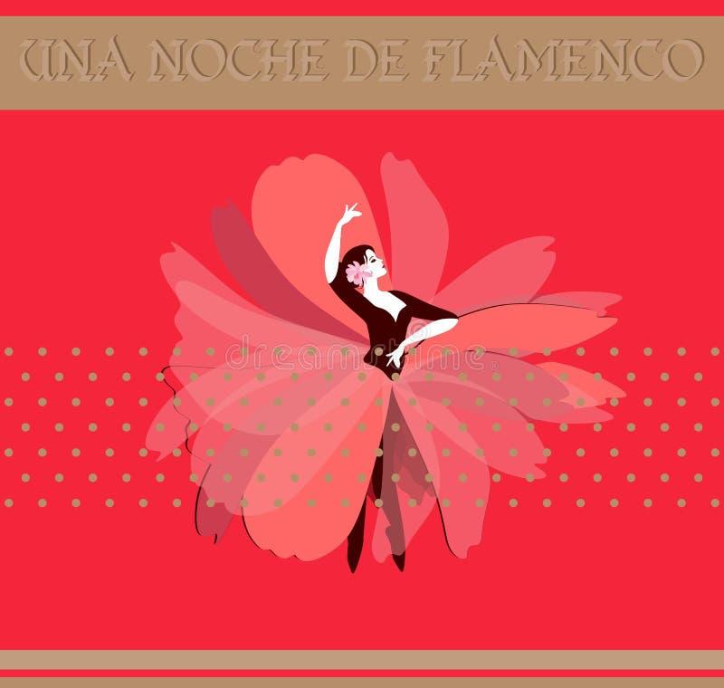 La muchacha del bailarín vestida en falda roja larga en la forma de los soportes de flor en danza presenta aislado en fondo rojo stock de ilustración