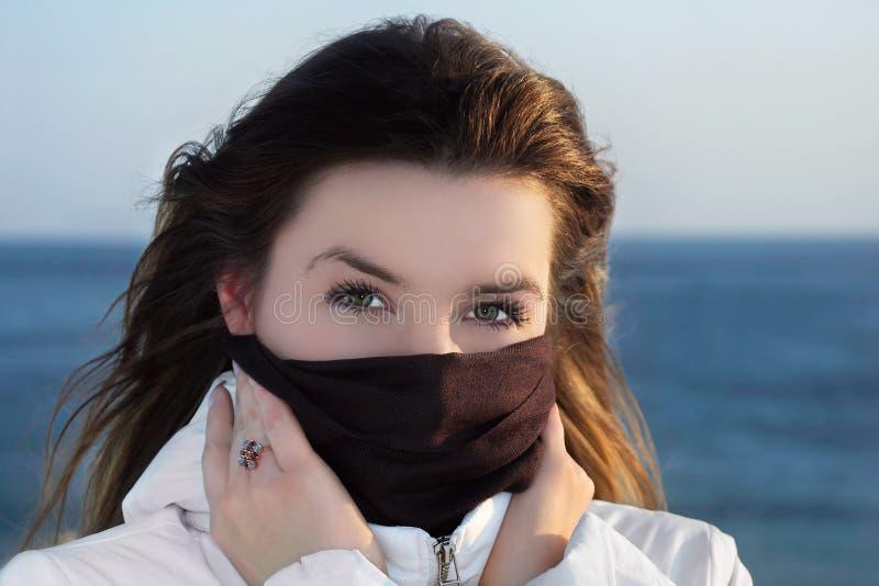 La muchacha del invierno el Brunette imagen de archivo