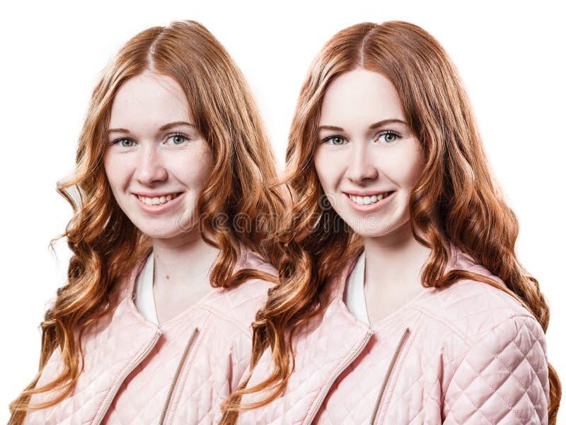 La muchacha del pelirrojo antes y después de retoca imagen de archivo