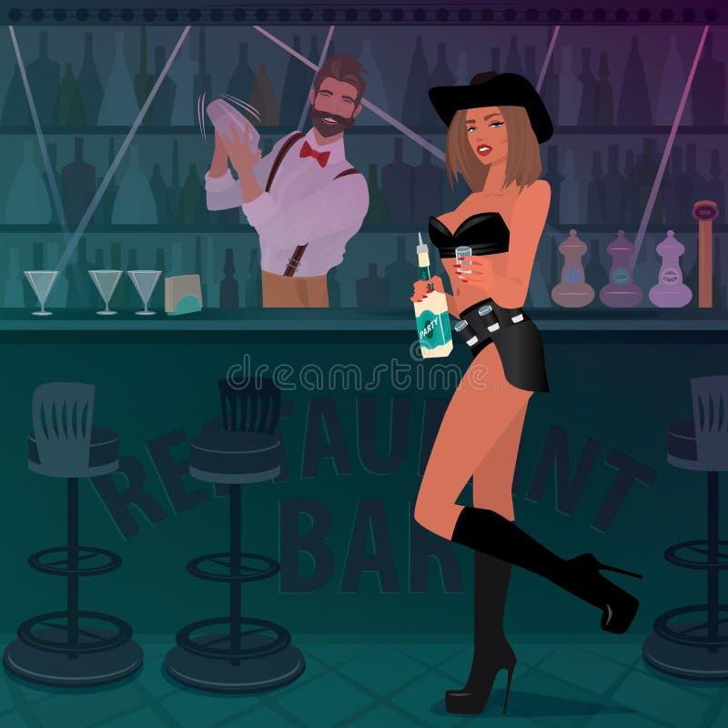 La muchacha del Tequila ofrece la bebida alcohólica en la barra libre illustration