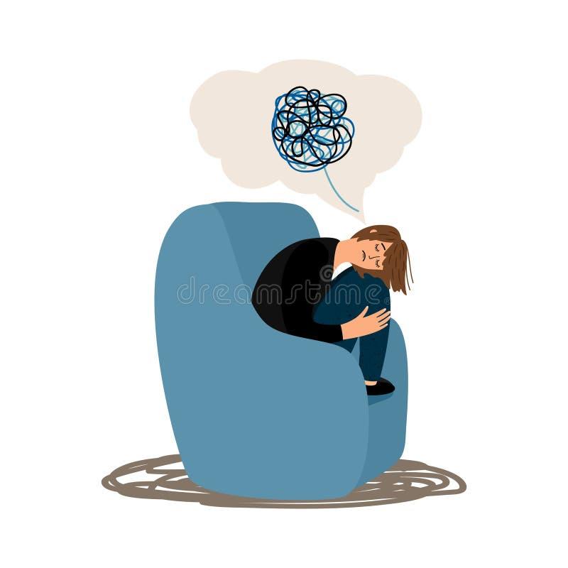 La muchacha deprimida enredó el ejemplo del vector del cerebro aislado libre illustration