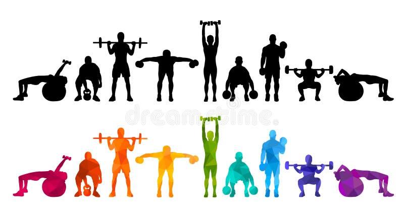 La muchacha determinada y el hombre del ejemplo de las siluetas de la gente fuerte detallada del balanceo se divierten powerlifti libre illustration