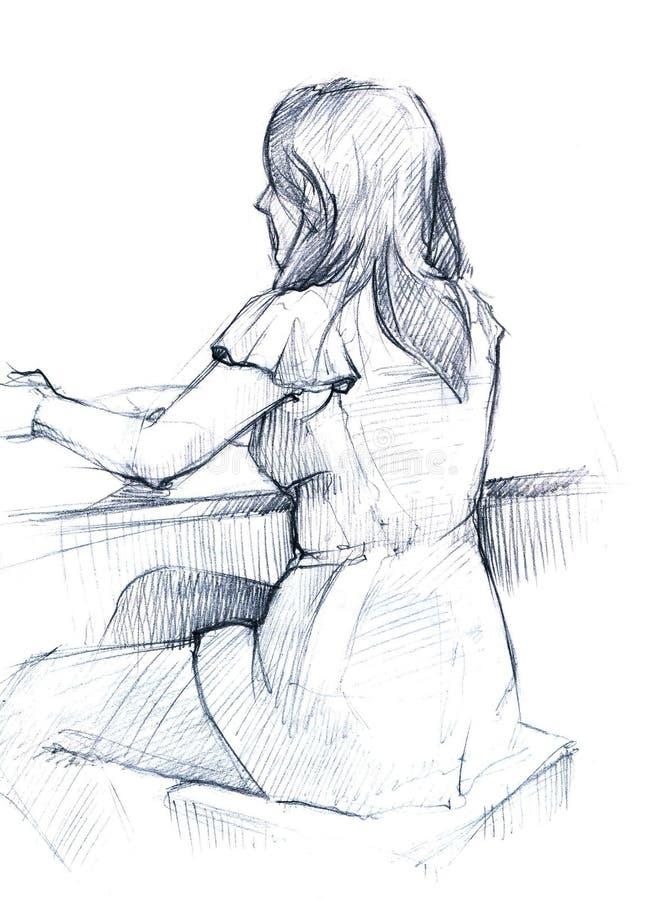 La muchacha detrás del vector libre illustration
