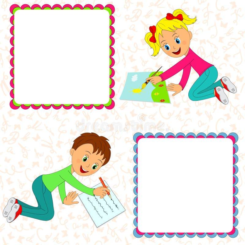 La muchacha dibuja, el muchacho dice ilustración del vector