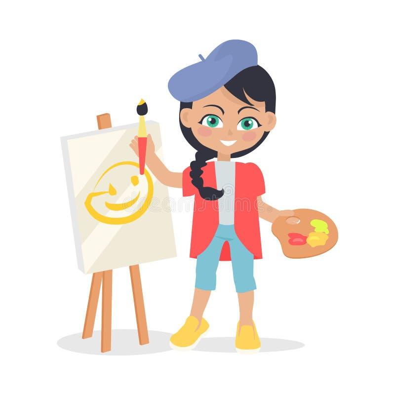 La muchacha dibuja en el caballete aislado en diseño plano del estilo ilustración del vector