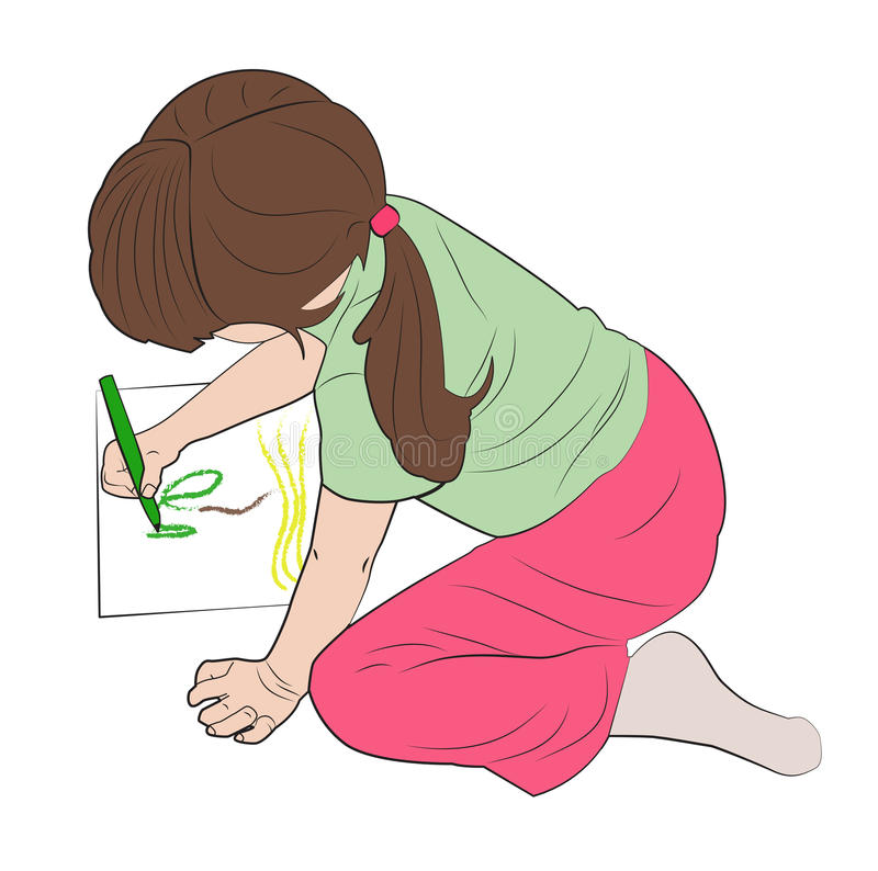 La muchacha dibuja una imagen libre illustration