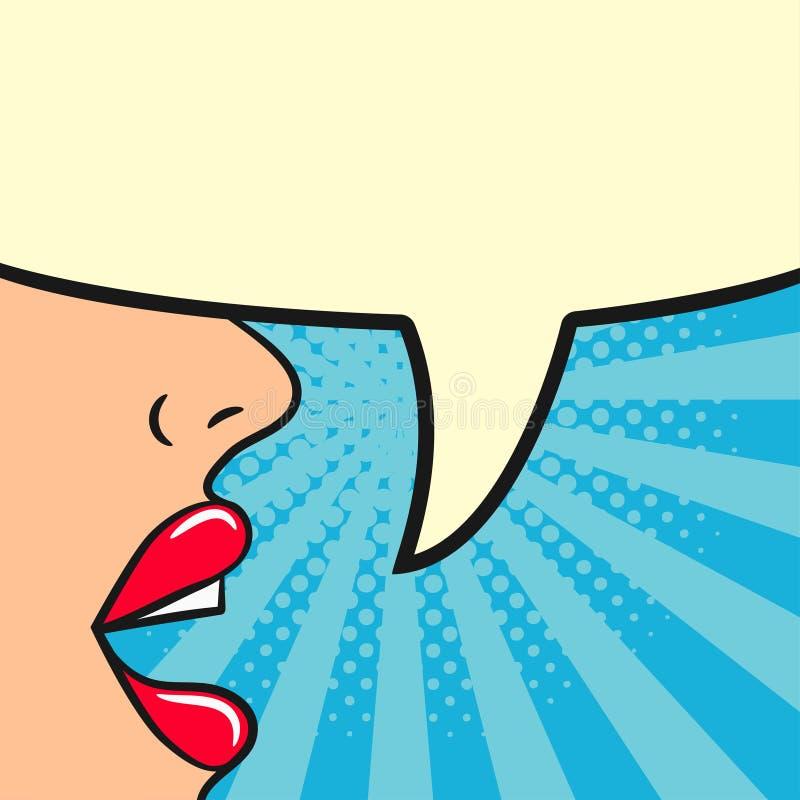 La muchacha dice - los labios femeninos y la burbuja en blanco del discurso La mujer habla Ejemplo cómico en estilo retro del art ilustración del vector