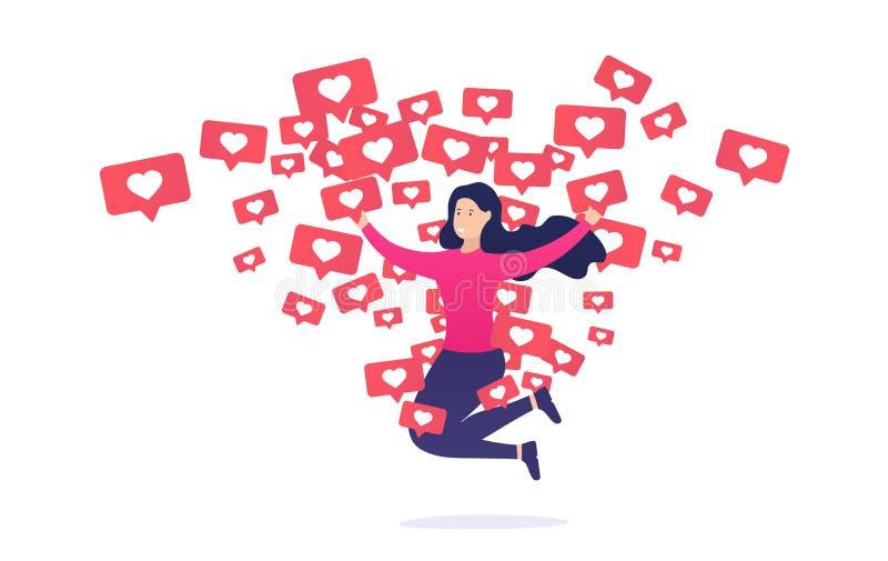 La muchacha disfruta y salta de notificaciones similares Apego de Internet a otros usuarios y a su aprobación ilustración del vector