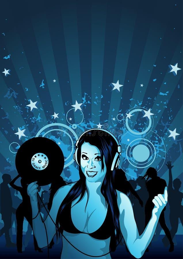 La muchacha DJ Wallpaper stock de ilustración