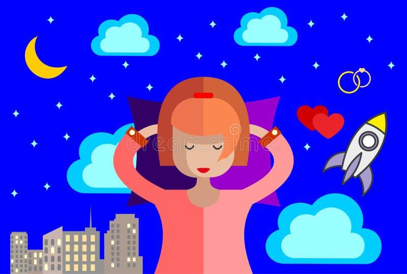 La muchacha duerme en su cama y ve sueños vivos animación Ilustración común del vector stock de ilustración