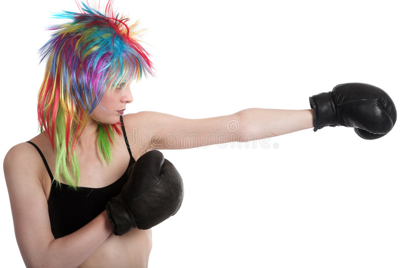 La muchacha el boxeador imagen de archivo