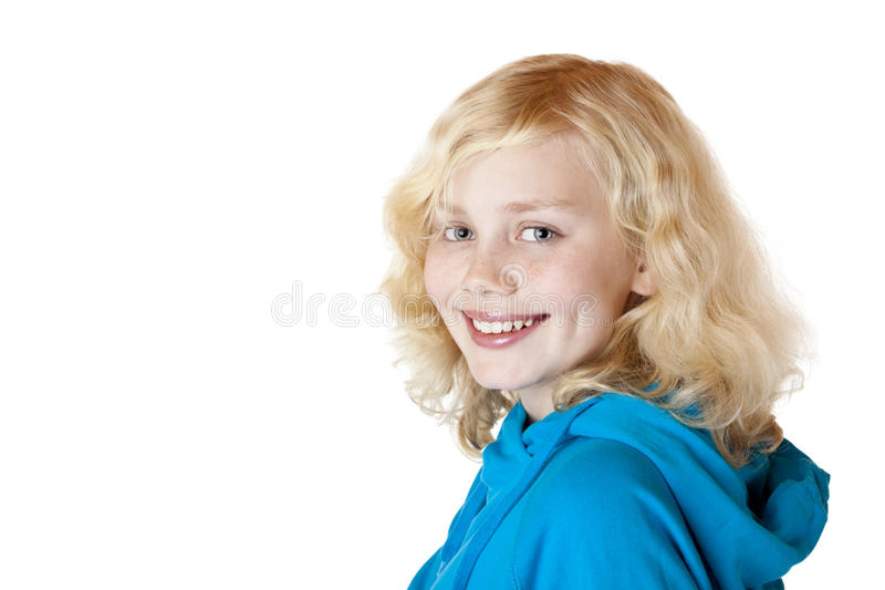 La muchacha/el niño hermosos jovenes sonríe feliz imagenes de archivo