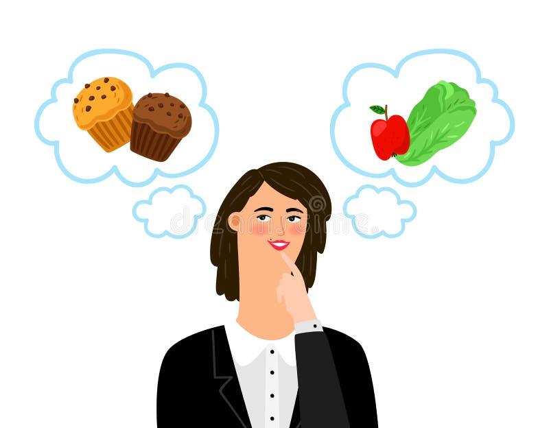 La muchacha elige entre la comida malsana y sana Dieta, concepto del vector del dietology ilustración del vector