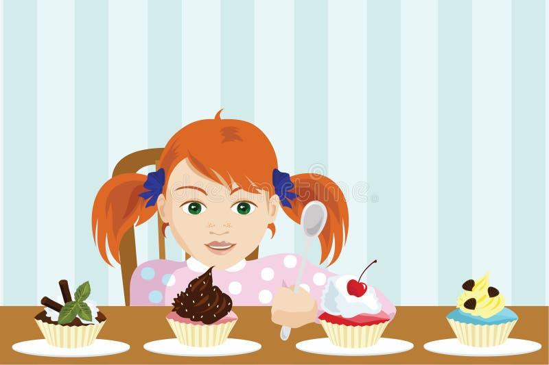 La muchacha elige una torta libre illustration