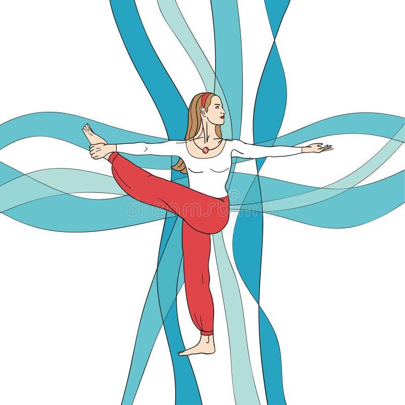La muchacha en actitud de la yoga en el extracto agita el fondo EPS, JPG ilustración del vector
