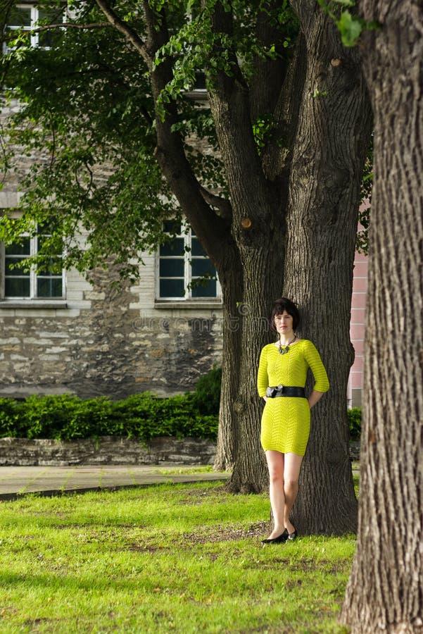 La muchacha en alineada amarilla se inclina en un árbol en un parque imagen de archivo
