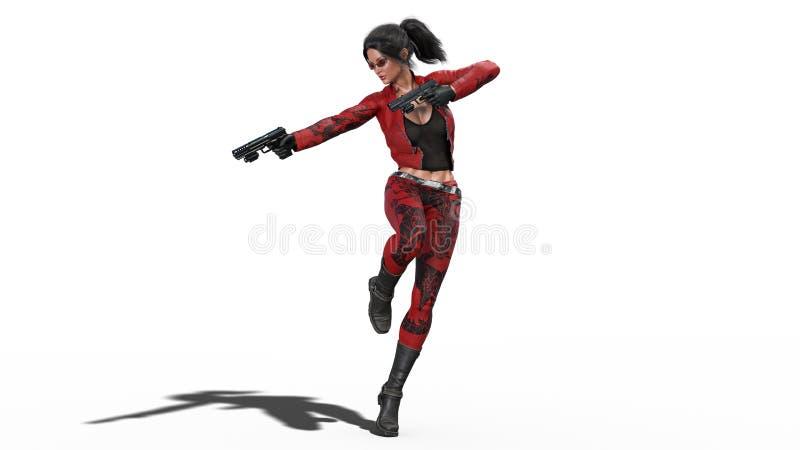 La muchacha en armas del tiroteo del salto, mujer de la acción en traje de cuero rojo con las armas de la mano aisladas en el fon stock de ilustración