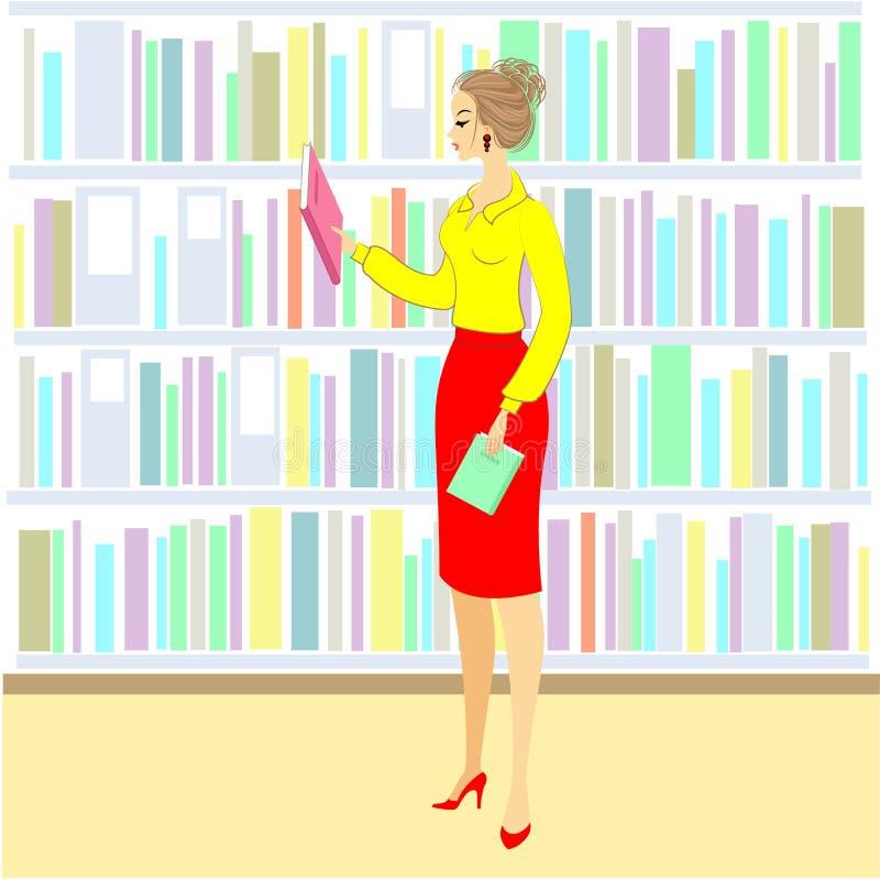 La muchacha en la biblioteca Una mujer agradable está mirando los libros para una lección Estante siguiente del gabinete con los  stock de ilustración