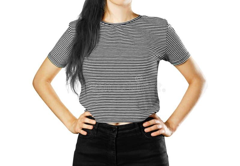 La muchacha en la camiseta rayada Str horizontal, blanco y negro imagenes de archivo