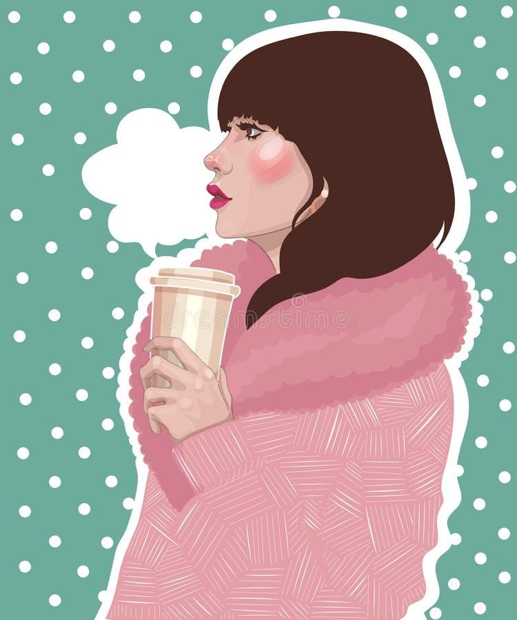 la muchacha en capa rosada sostiene el café caliente ilustración del vector