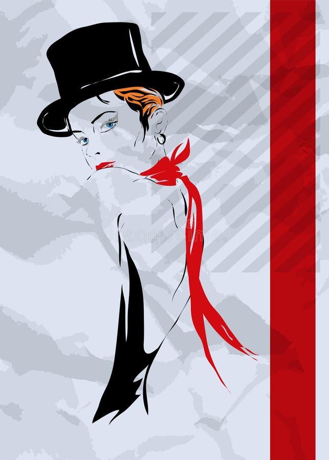 La muchacha en el estilo del cabaret ilustración del vector
