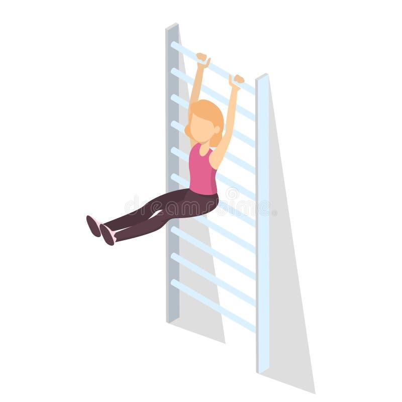 La muchacha en el gimnasio hace ejercicio del deporte en la escalera ilustración del vector