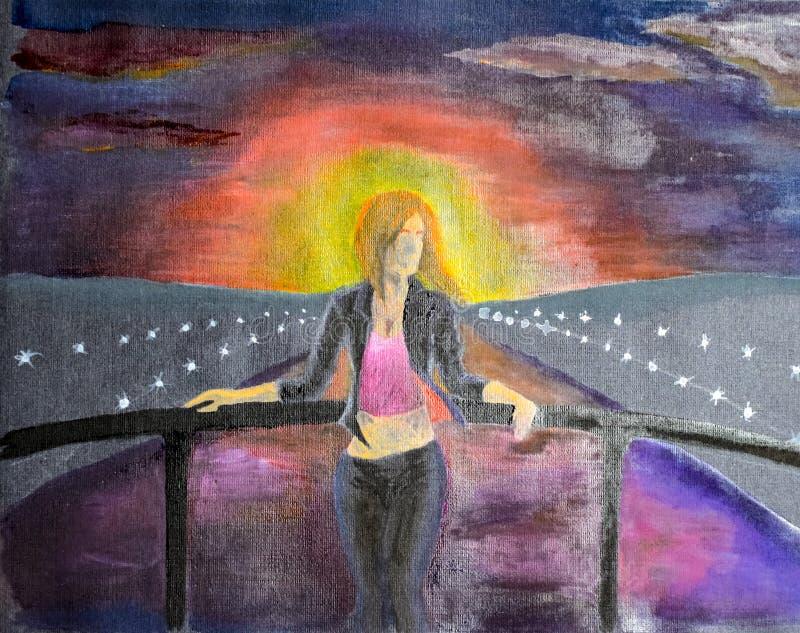 La muchacha en el puente de Meryl a través del canal de agua fotografía de archivo libre de regalías