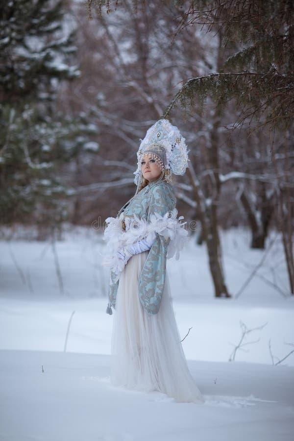 La muchacha en el traje de la doncella de la nieve fotos de archivo