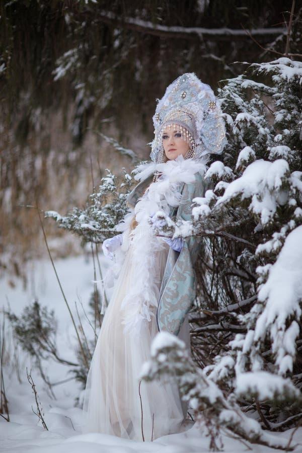 La muchacha en el traje de la doncella de la nieve imágenes de archivo libres de regalías