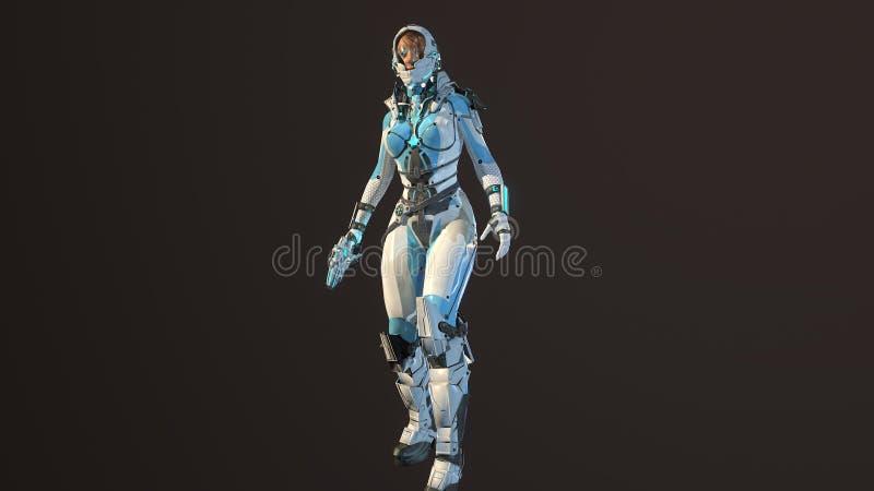 La muchacha en el traje de espacio del fy del cielo 3d rinde stock de ilustración