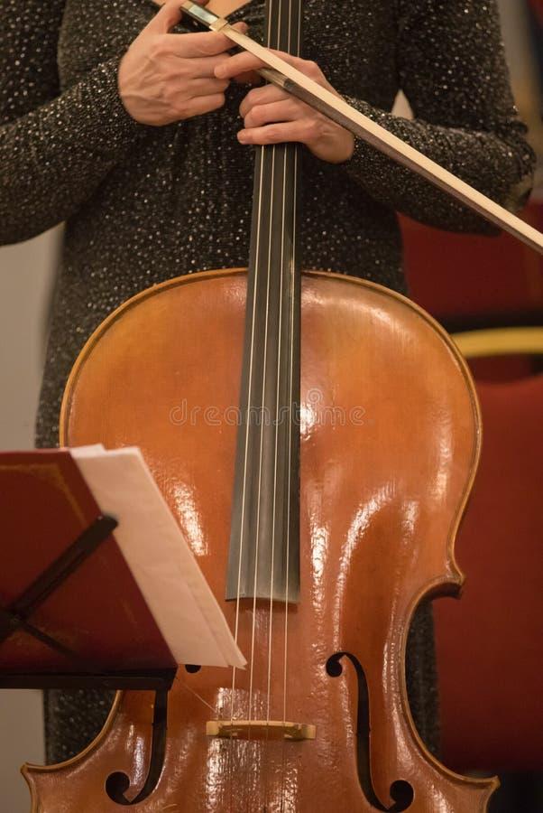 La muchacha en el vestido sostiene el violín en la sala de conciertos foto de archivo libre de regalías