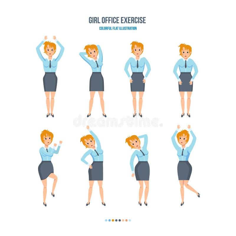 La muchacha en la oficina, en las diversas actitudes, haciendo ejercita ilustración del vector