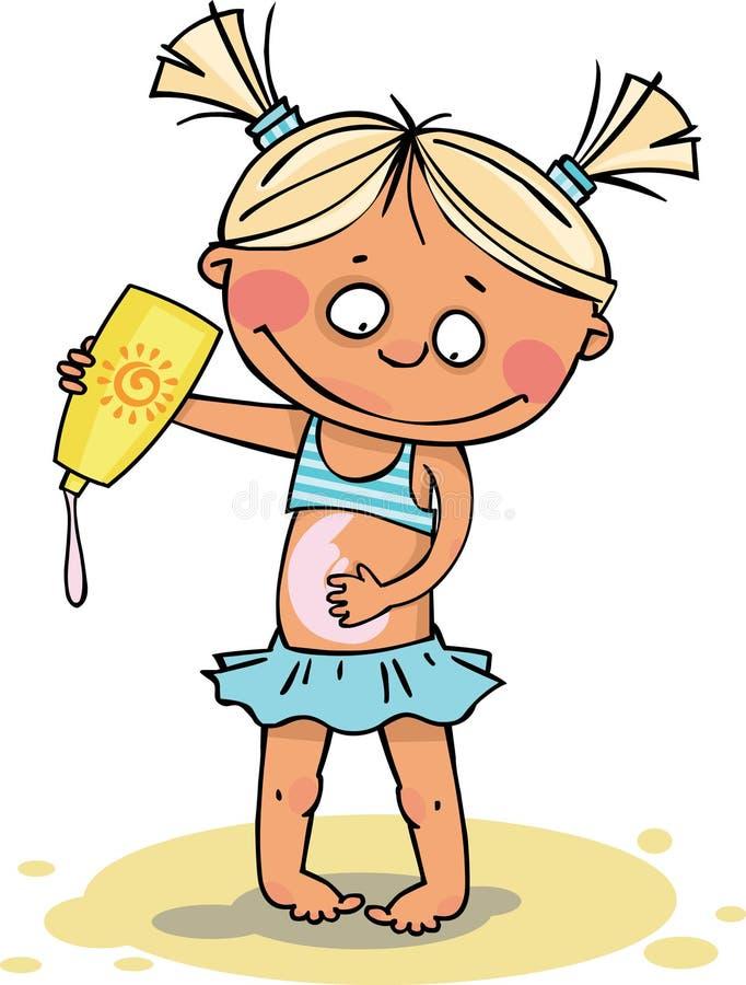 La muchacha en la playa libre illustration