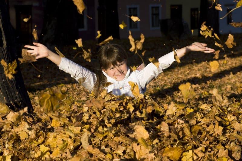 La muchacha en las hojas de otoño foto de archivo