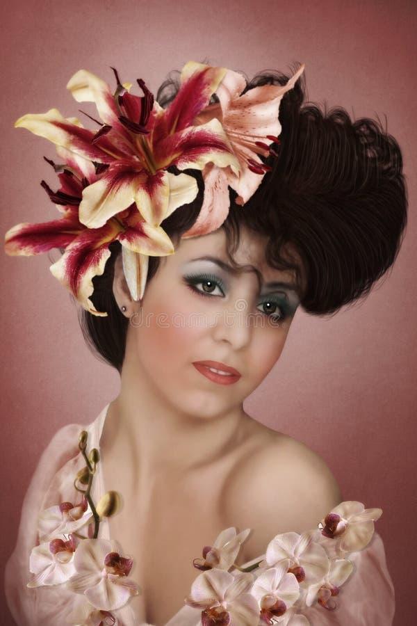 La muchacha en lirios de las flores imagenes de archivo