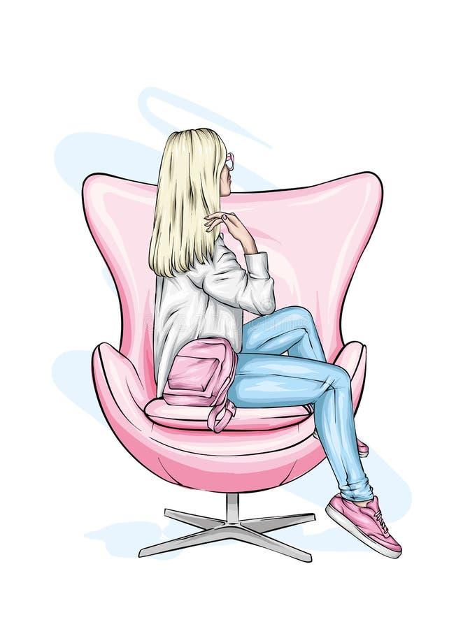 La muchacha en ropa elegante se sienta en una butaca Ejemplo del vector para la postal o cartel, impresión para la ropa y accesor imagenes de archivo