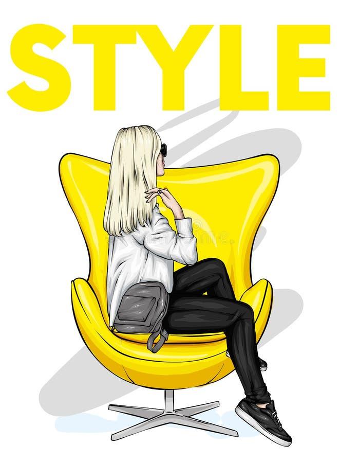 La muchacha en ropa elegante se sienta en una butaca Ejemplo del vector para la postal o cartel, impresión para la ropa y accesor fotografía de archivo