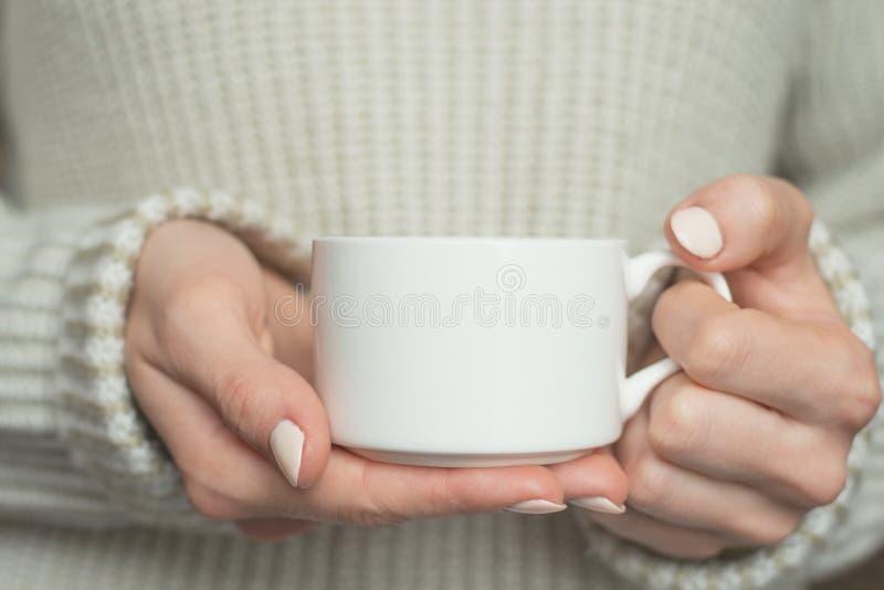 La muchacha en suéter caliente está sosteniendo la taza blanca en manos Maqueta para el diseño de los regalos del invierno imagenes de archivo