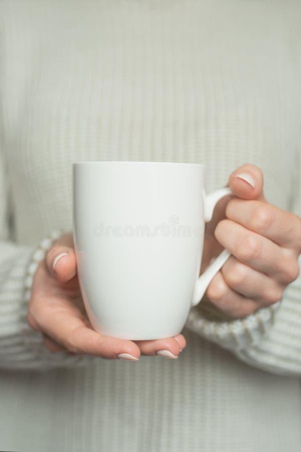 La muchacha en suéter caliente está sosteniendo la taza blanca en manos Maqueta para el diseño de los regalos del invierno foto de archivo libre de regalías