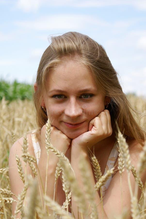 La muchacha en trigo fotografía de archivo libre de regalías